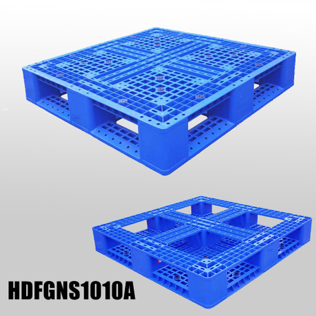 1000*1000 Full Perimeter Bottom Open Deck Stackable Blue Plastic Pallet