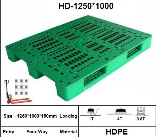 Plastic Pallet with 3 Paralled Bar Structure in Bottom, Rackable, Grid
