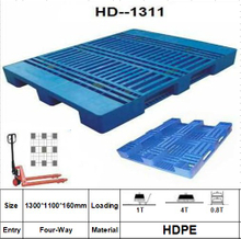 Plastic Pallet with 3 Paralled Bar Structure in Bottom, Rackable, Grid.